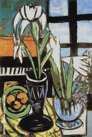 Still Life with Irises 1949 Painting By Max Beckmann