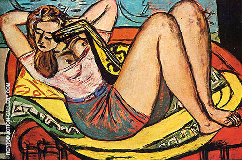 Reproduction of Woman with Mandolin in Yellow and Red 1950 by Max Beckmann | Oil Painting Replica On CanvasReproduction Gallery