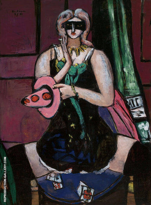 Carnival Mask Green Violet and Pink 1950 By Max Beckmann