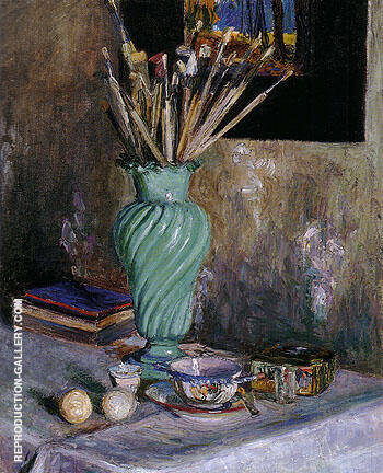 Still Life with Vase of Brushes 1906 By Gabriele Munter Replica Paintings on Canvas - Reproduction Gallery