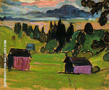 View of the Murnau Moors 1908 By Gabriele Munter Replica Paintings on Canvas - Reproduction Gallery
