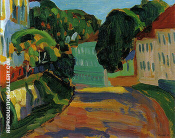 Street in Murnau 1908 Painting By Gabriele Munter - Reproduction Gallery