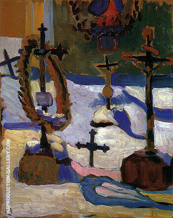 Reproduction of Grave Crosses in Kochel 1909 by Gabriele Munter | Oil Painting Replica On CanvasReproduction Gallery