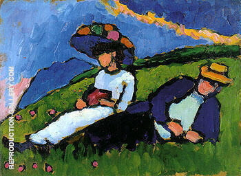 Jawlensky and Werefkin 1909 By Gabriele Munter - Oil Paintings & Art Reproductions - Reproduction Gallery