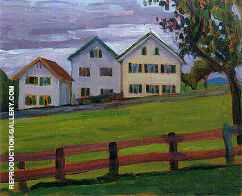 Three Houses in Murnau 1909 Painting By Gabriele Munter