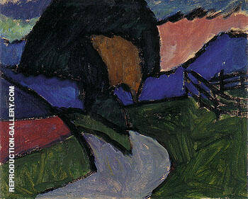 Autumn Landscape 1910 By Gabriele Munter Replica Paintings on Canvas - Reproduction Gallery