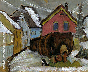 Chaff Wagons 1910 By Gabriele Munter - Oil Paintings & Art Reproductions - Reproduction Gallery