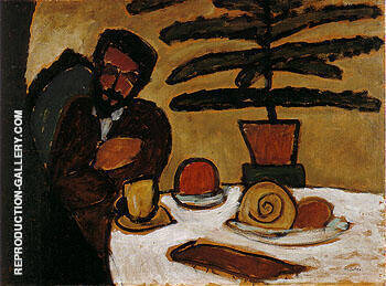 Man at a Table Kandinsky By Gabriele Munter - Oil Paintings & Art Reproductions - Reproduction Gallery