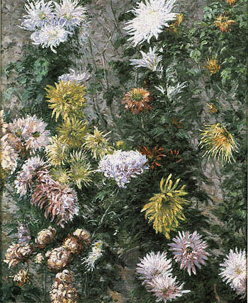 White and Yellow Chrysanthemums Garden at Petit Gennevilliers 1893 By Gustave Caillebotte - Oil Paintings & Art Reproductions - Reproduction Gallery