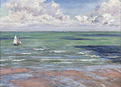 Seascape Regatta at Villiers 1880 By Gustave Caillebotte