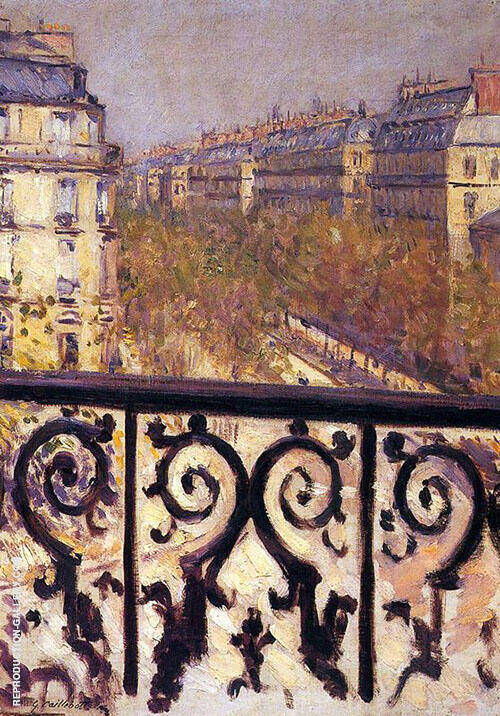Reproduction of A Balcony in Paris c1880 by Gustave Caillebotte | Oil Painting Replica On CanvasReproduction Gallery