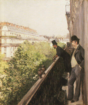 A Balcony 1800 By Gustave Caillebotte - Oil Paintings & Art Reproductions - Reproduction Gallery