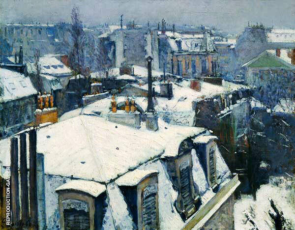 Rooftops Snow 1878 By Gustave Caillebotte