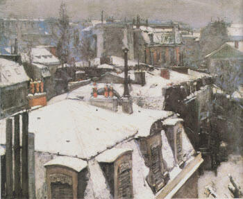 Rooftops Snow 1878 By Gustave Caillebotte - Oil Paintings & Art Reproductions - Reproduction Gallery