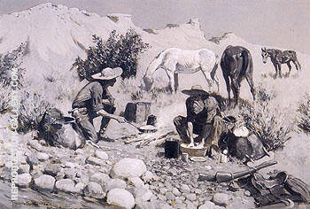 Prospectors Making Frying Pan Bread 1893 By Frederic Remington - Oil Paintings & Art Reproductions - Reproduction Gallery