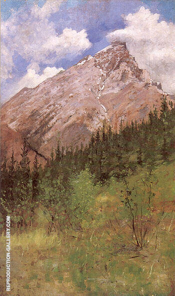 Banff Cascade Mountain 1890 By Frederic Remington - Oil Paintings & Art Reproductions - Reproduction Gallery