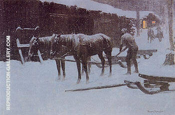 The End of the Day 1904 Painting By Frederic Remington