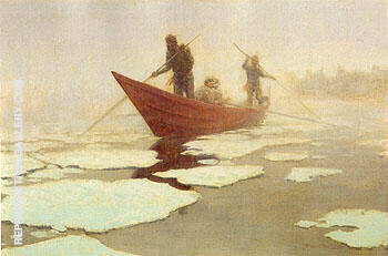 River Drivers in the Spring Break Up 1905 By Frederic Remington - Oil Paintings & Art Reproductions - Reproduction Gallery