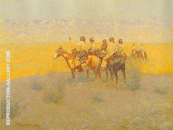 Evening in the Desert Navajoes 1905 Painting By Frederic Remington