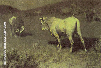 The Moaning of the Bulls 1907 By Frederic Remington - Oil Paintings & Art Reproductions - Reproduction Gallery