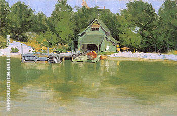 Boat House at Ingleneuk ca 1903 Painting By Frederic Remington