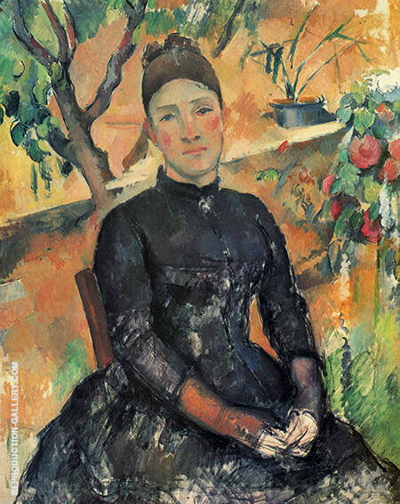Madame Cezanne in the Greenhouse By Paul Cezanne
