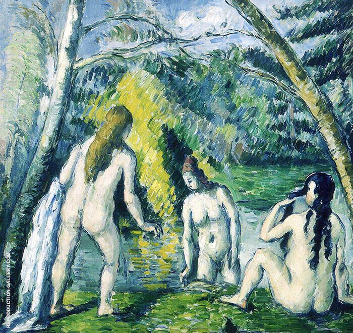 Three Bathers 1875 By Paul Cezanne
