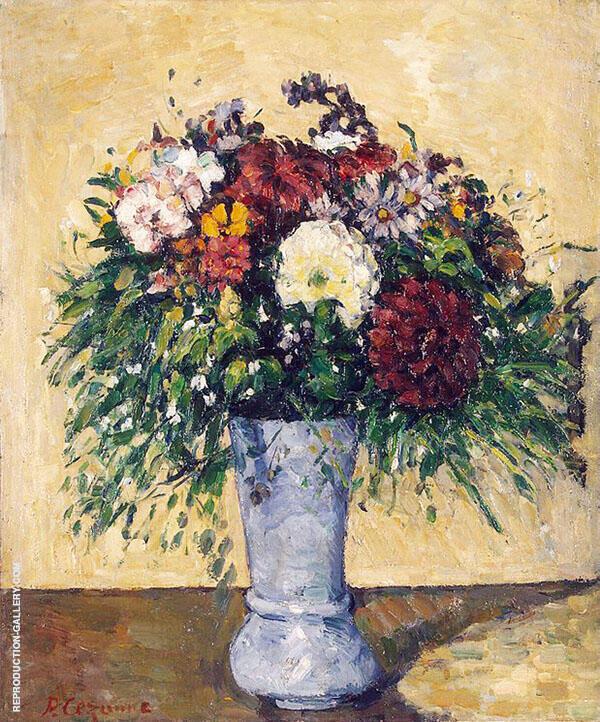 Flowers in a Blue Vase 1873 By Paul Cezanne