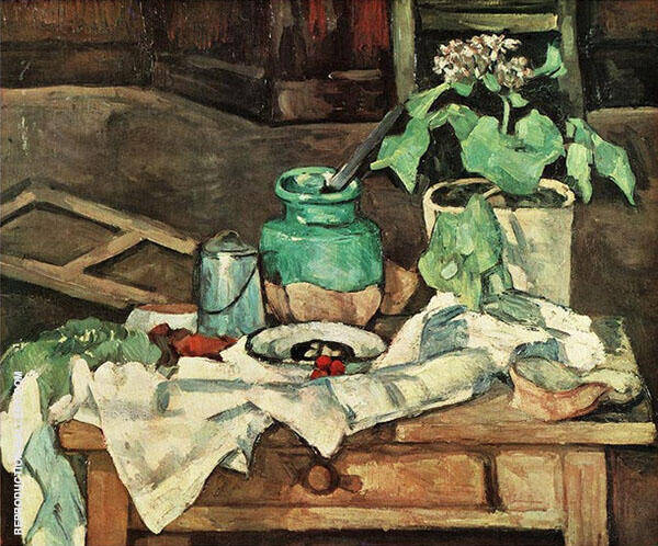 Vase of Flowers on a Table 1882 By Paul Cezanne
