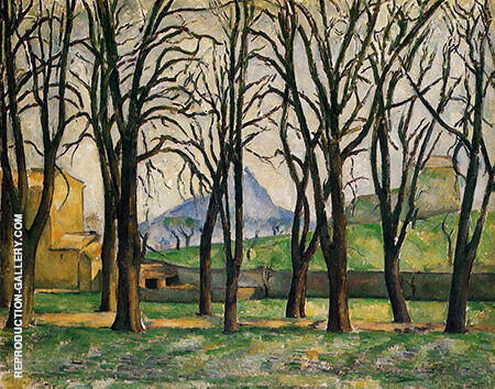 Trees and House 1885 By Paul Cezanne