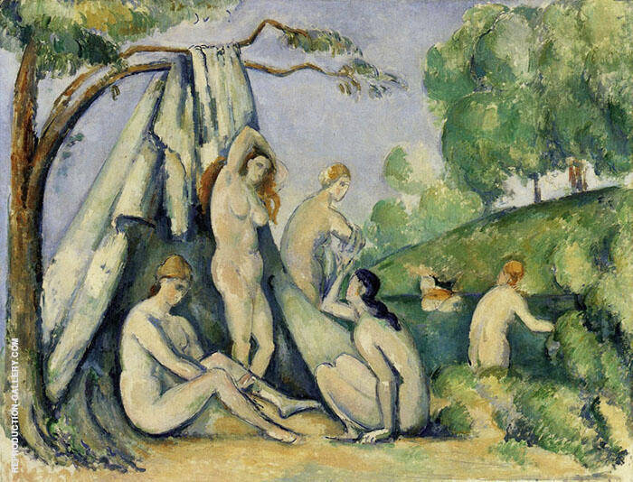 Bathers in front of a Tent Painting By Paul Cezanne - Reproduction Gallery