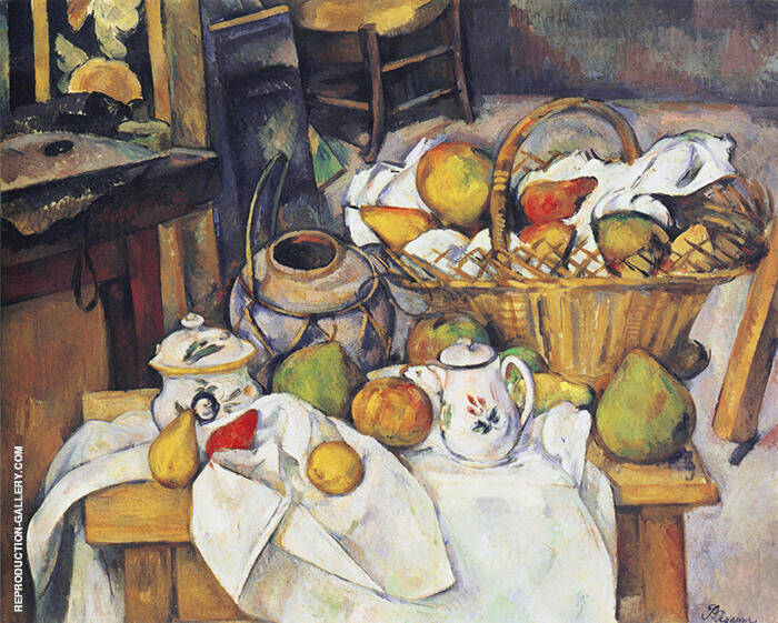 Still Life with Basket Painting By Paul Cezanne - Reproduction Gallery