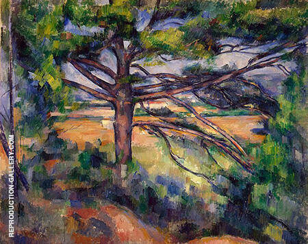 Large Pine and Red Earth By Paul Cezanne