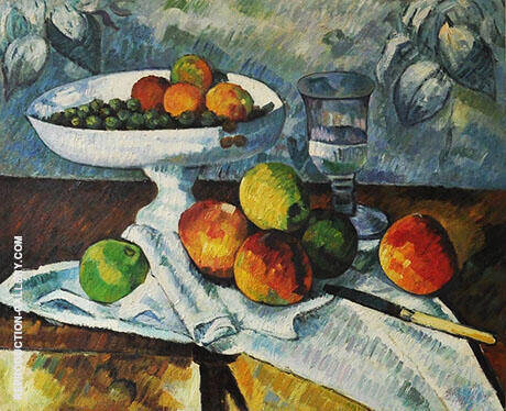Still Life with Dish Glass and Apples 1879 By Paul Cezanne