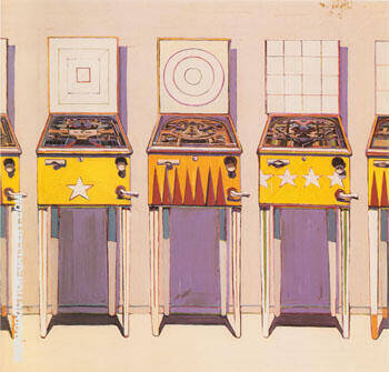 Four Pin Ball Machines 1962 By Wayne Thiebaud Replica Paintings on Canvas - Reproduction Gallery
