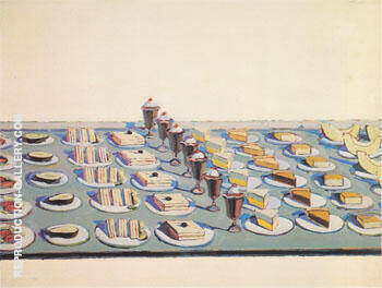 Salad Sandwiches and Dessert 1962 By Wayne Thiebaud Replica Paintings on Canvas - Reproduction Gallery