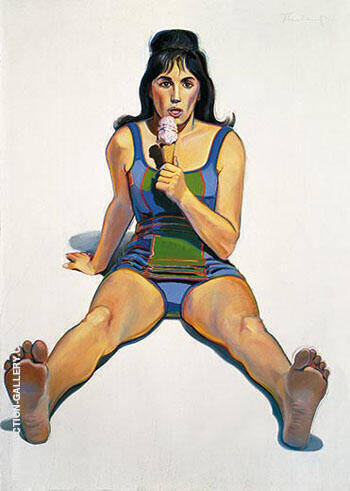 Girl with Ice Cream Cone By Wayne Thiebaud Replica Paintings on Canvas - Reproduction Gallery