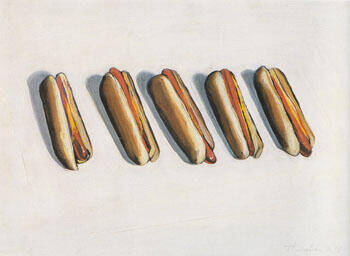 Five Hot Dogs Painting By Wayne Thiebaud - Reproduction Gallery