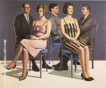 Five Seated Figures Painting By Wayne Thiebaud - Reproduction Gallery