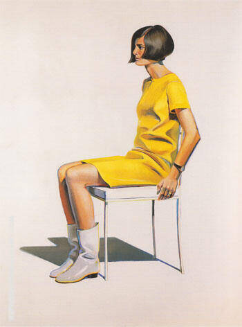 Girl in White Boots Painting By Wayne Thiebaud - Reproduction Gallery