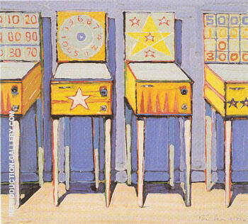 Four Pin Ball Machines By Wayne Thiebaud Replica Paintings on Canvas - Reproduction Gallery