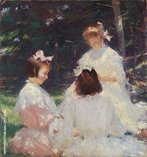 Children in the Woods 1905 By Frank Weston Benson Replica Paintings on Canvas - Reproduction Gallery