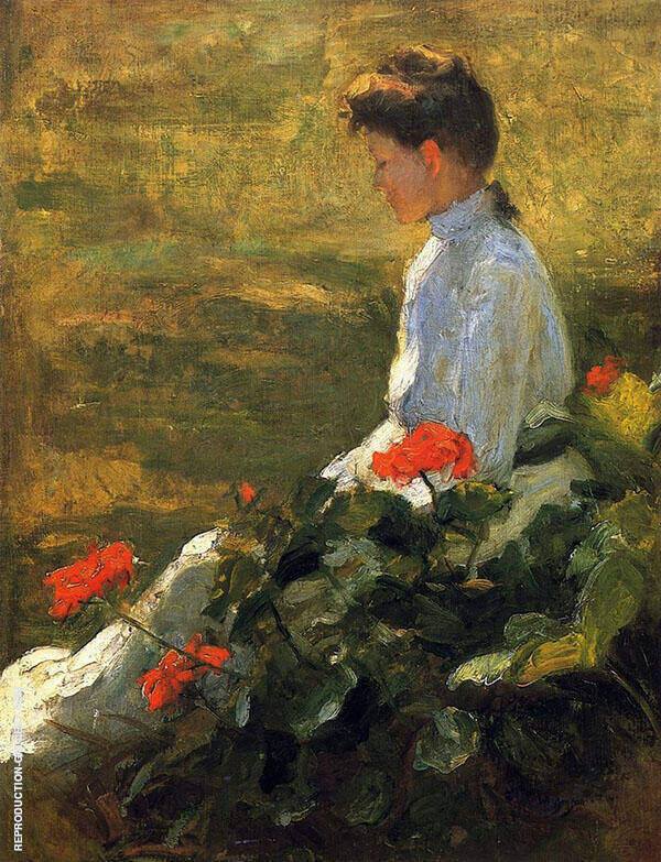 Woman with Geranmiums c 1910 Painting By Frank Weston Benson