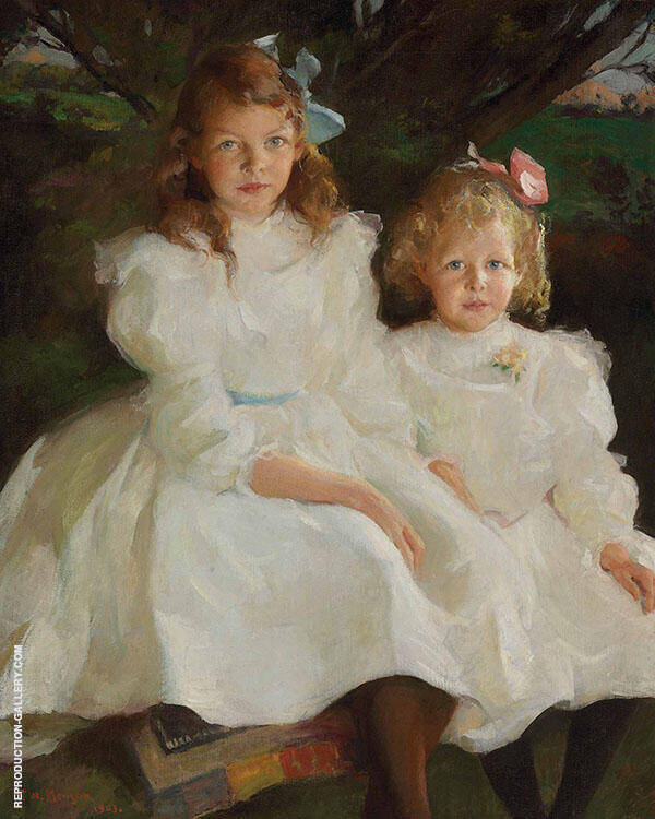 Two Little Girls 1903 By Frank Weston Benson Replica Paintings on Canvas - Reproduction Gallery