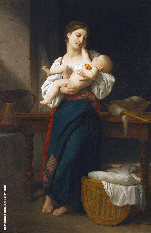 First Caresses 1866 By William-Adolphe Bouguereau Replica Paintings on Canvas - Reproduction Gallery