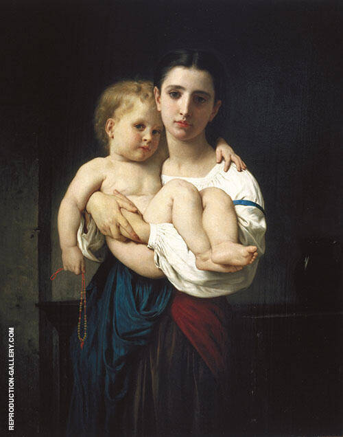 The Elder Sister Painting By William-Adolphe Bouguereau