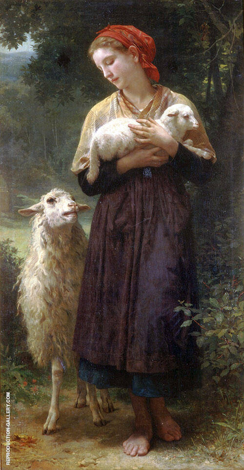 The Shepherdess 1873 By William-Adolphe Bouguereau Replica Paintings on Canvas - Reproduction Gallery
