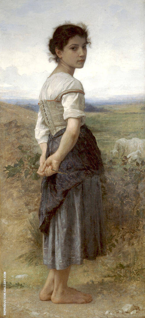 Reproduction of The Young Shepherdess 1885 by William-Adolphe Bouguereau | Oil Painting Replica On CanvasReproduction Gallery