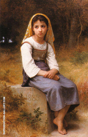 Reproduction of Meditation 1885 by William-Adolphe Bouguereau | Oil Painting Replica On CanvasReproduction Gallery