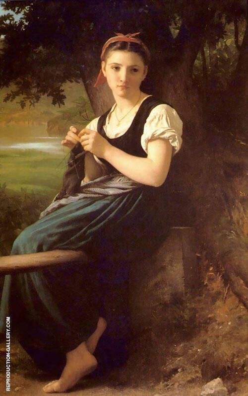 La tricoteuse The Knitting Girl 1869 By William-Adolphe Bouguereau